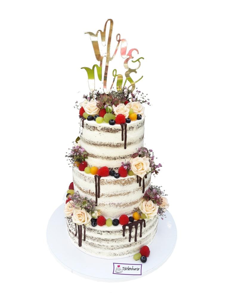 Semi Naked Cake mit Blumen und Schokoladen-Drip