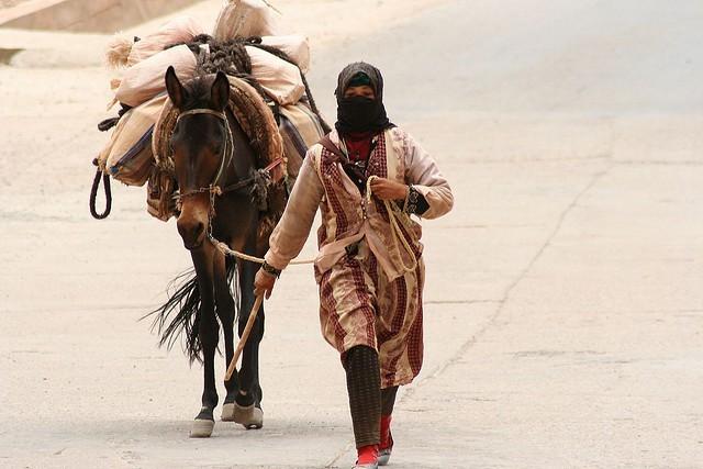 ロバを連れる女性