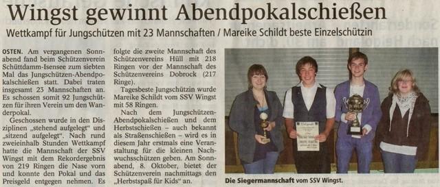 Jungschützen-Abendpokalschießen 2011 (Quelle: NEZ 23.09.2011)