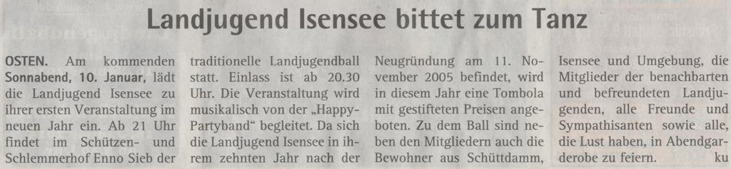 Vorbericht Landjugendball 2015 (Quelle: Hadler Kurier 07.01.2015)