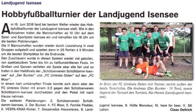 Fußballturnier 2018 (Quelle: Hemmoor-Magazin, 10. Jahrgang, Heft 29, September 2018)