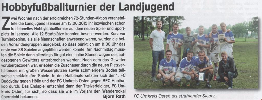 Fußballturnier 2015 (Quelle: Hemmoor-Magazin, 7. Jahrgang, Heft 20, Juli 2015)