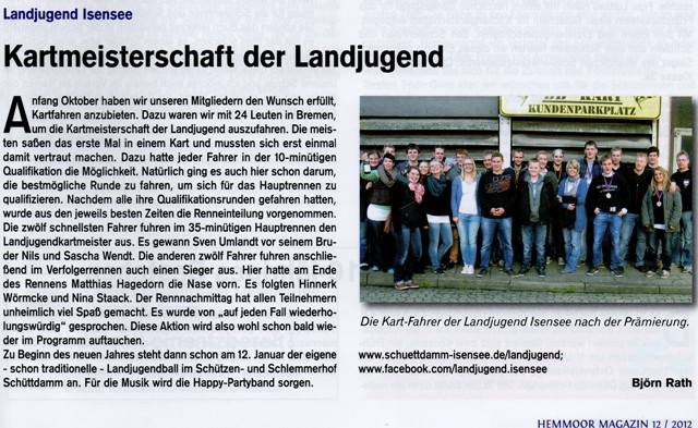 Kartmeisterschaft 2012 (Quelle: Hemmoor Magazin, 4. Jahrgang, Nr. 12, Dezember 2012)