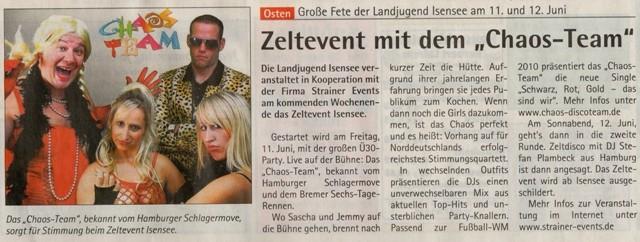 Zeltevent 2010 (Quelle: Hadler Kurier 09.06.2010)