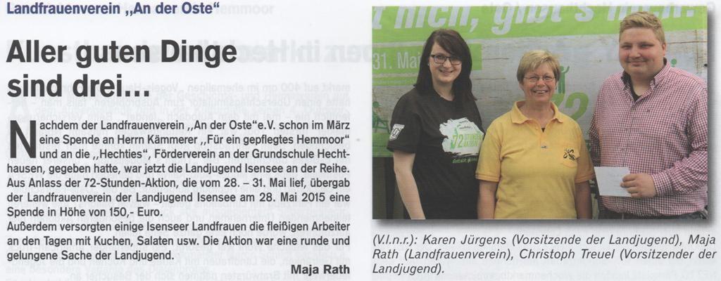 72-Stunden-Aktion - Landfrauenspende (Quelle: Hemmoor-Magazin, 7. Jahrgang, Heft 20, Juli 2015)