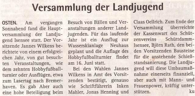 Jahreshauptversammlung 2017 (Quelle: Hadler Kurier 02.05.2018)