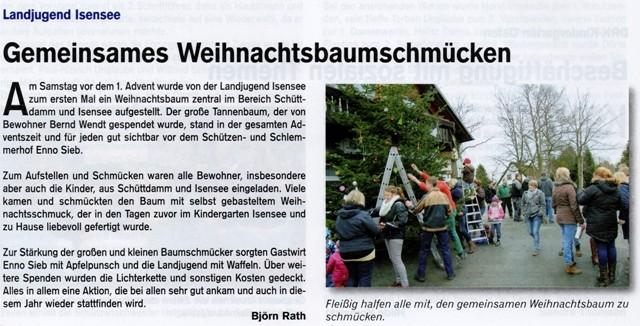 Weihnachtsbaumaufstellen 2013 (Quelle: Hemmoor Magazin, 6. Jahrgang, Nr. 16, April 2014)