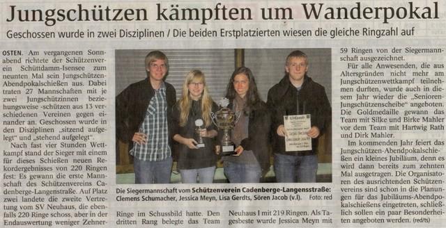 9. Jungschützen-Abendpokalschießen (Quelle: NEZ 24.09.2013)