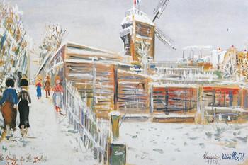 モーリス・ユトリロ「雪のムーラン・ド・ラ・ギャレット、モンマルトル」1934年