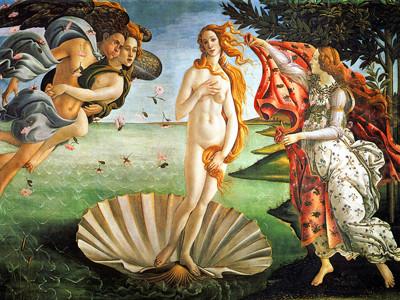 サンドロ・ボッティチェッリ『 ヴィーナスの誕生』1485年頃、ウフィツィ美術館
