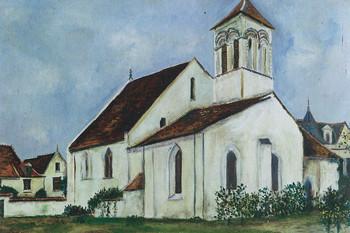 モーリス・ユトリロ「サン=ローラン教会、ロッシュ(アンドル=エ=ロワール県)」1914年頃
