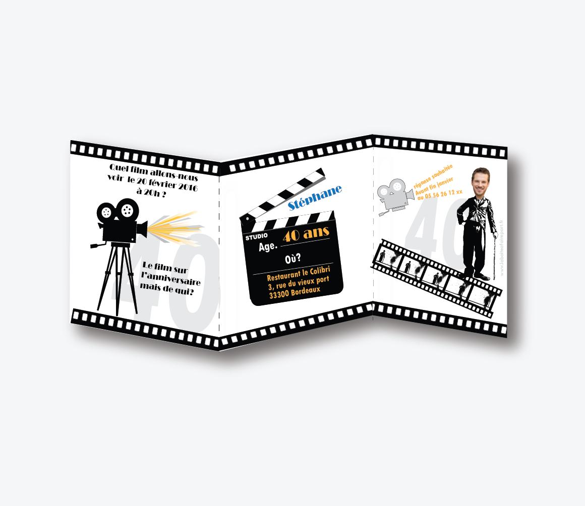 Invitation Anniversaire Homme Cinema Faire Part Naissance Faire
