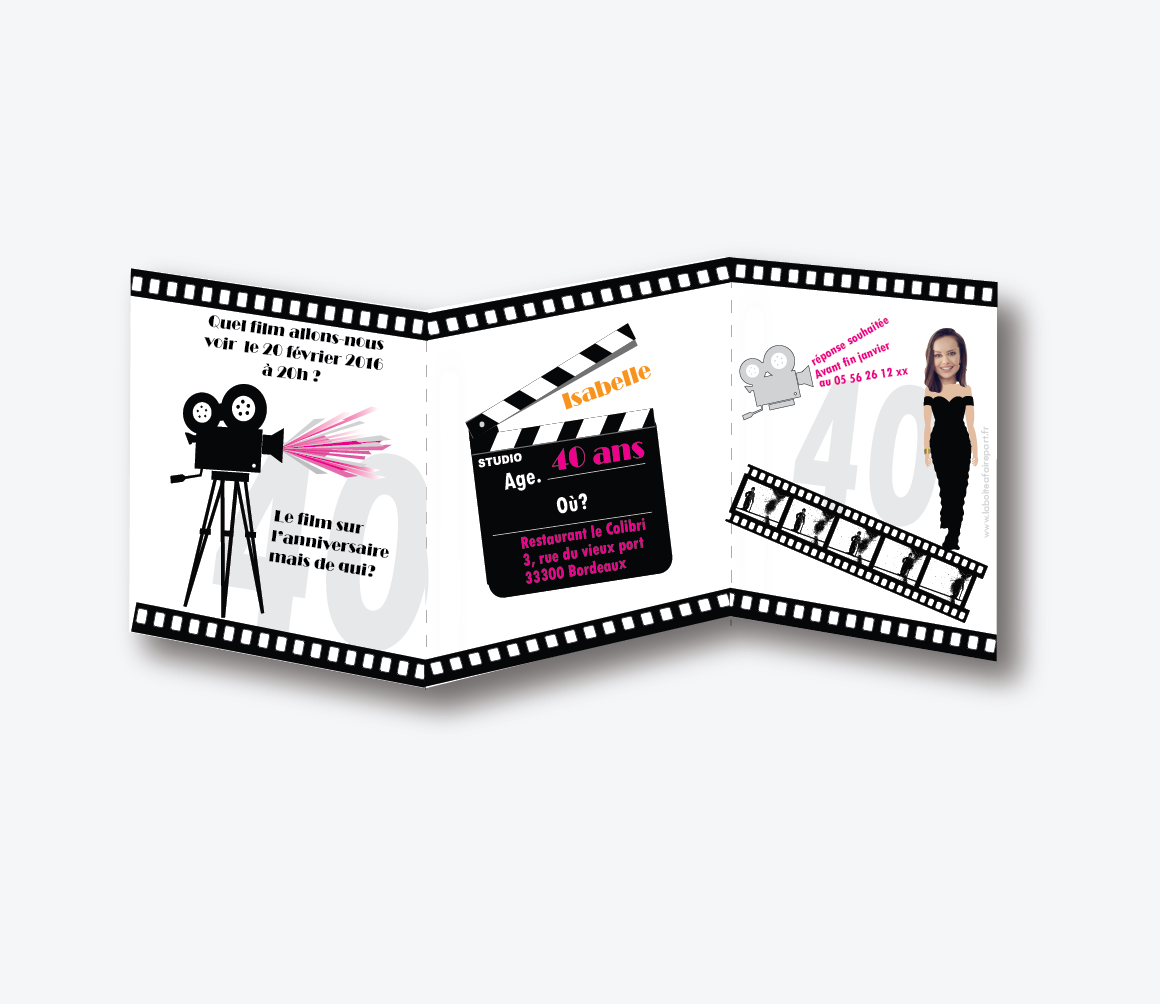 Invitation anniversaire femme Cinema