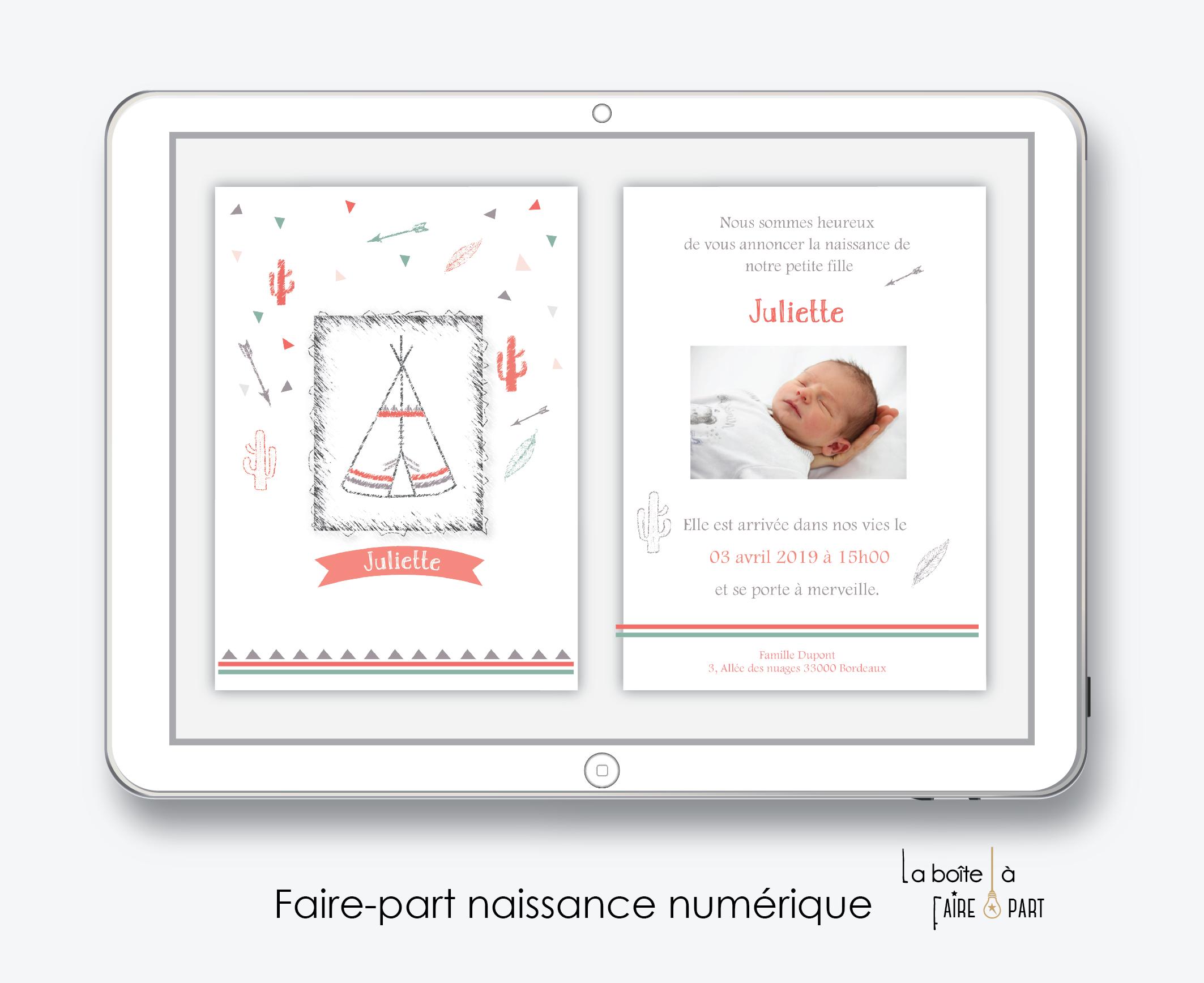 faire-part naissance fille numérique-faire-part naissance fille électronique-fichier pdf - tipi indien -à imprimer soi même-à envoyer par mail -à envoyer parmms-sms-réseaux sociaux