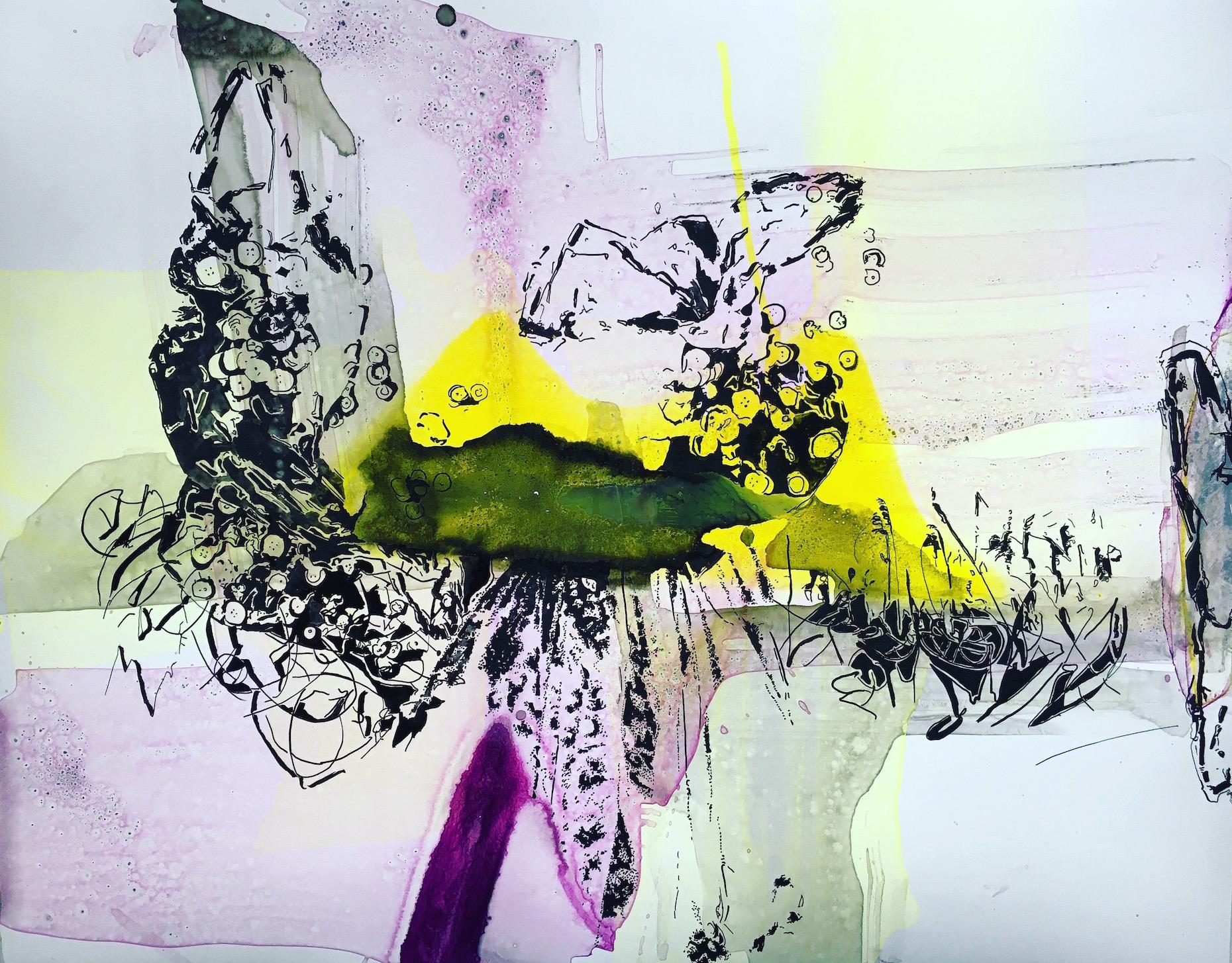 Joana Fischer, Plastic landscape I - Plastiklandschaft I, 2017, ink on yupo, 20 x 26 inches