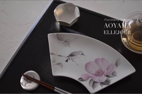 ポーセラーツ 水墨画 椿 ペインティングコース 日本ヴォーグ社