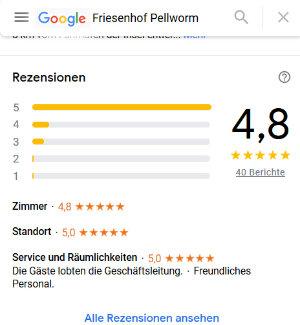 Screenshot der Google-Bewertungen vom Friesenhof Pellworm