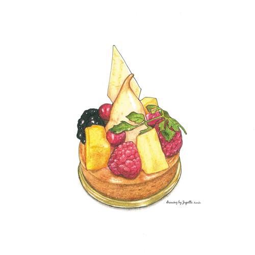 ミルフィーユ イラスト 色鉛筆画