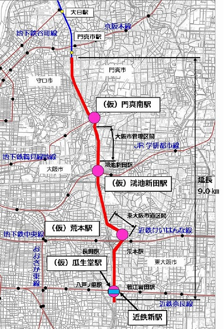 大阪モノレール,延伸,延伸事業,延伸工事,延伸計画,瓜生堂駅