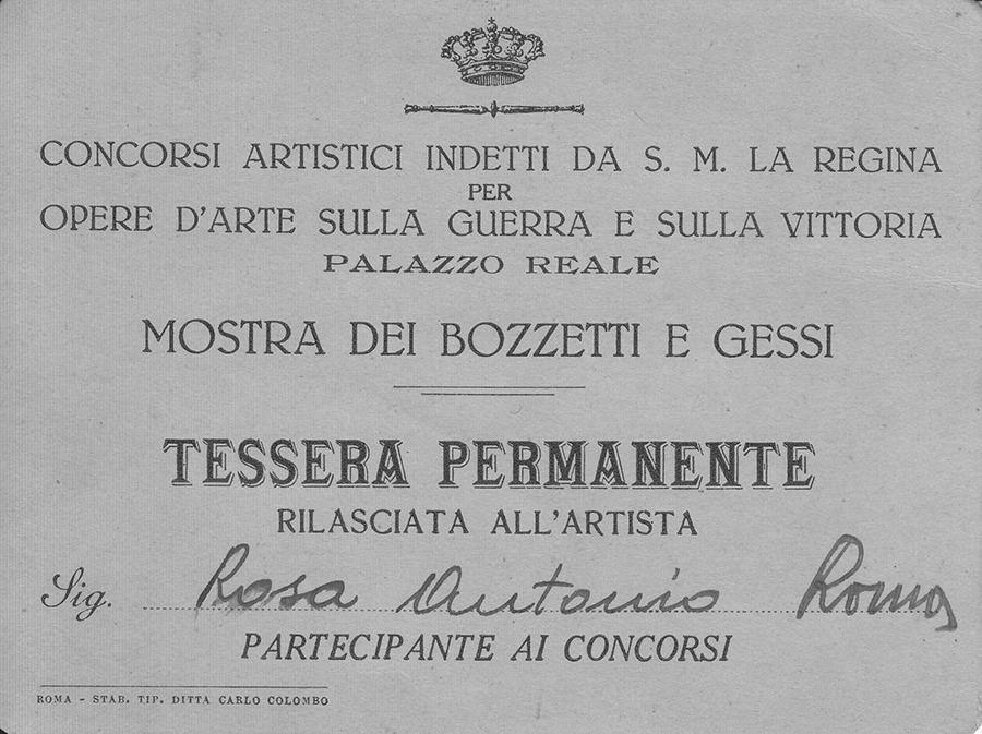 Tessera permanente per i concorsi artistici indetti nel Palazzo Reale del Quirinale - Rosa Decorazioni