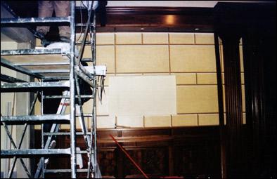 Decorazioni murali di pareti - Decorazione di pareti con finto bugnato - Sbarco ascensori di Palazzo Chigi - Roma - Rosa Decorazioni