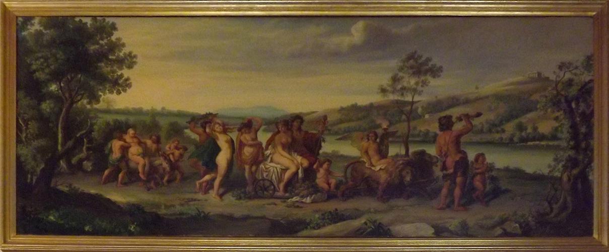 Antico dipinto ad olio su tela - Mitologico - Trionfo di Bacco e Arianna - Antiquariato - Primi 900