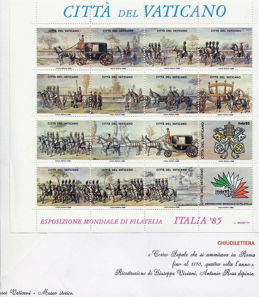 Serie di 16 francobolli di un dipinto di Antonio Rosa raffigurante il corteo papale esposto presso i Musei Vaticani - Rosa Decorazioni