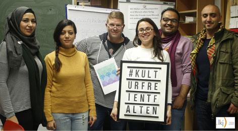 """Im Bild: """"Texte.Färben.Heimat""""-Team."""