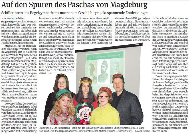 Unsere Zusammenarbeit mit der Europa-Schule Hegel-Gymnsaium hat Tradtion: Schon vor 5 Jahren wandelten wir mit Schülerinnen und Schülern auf den Spuren des Paschas von Magdeburg. / Volksstimme,29.Januar 2014, S.20