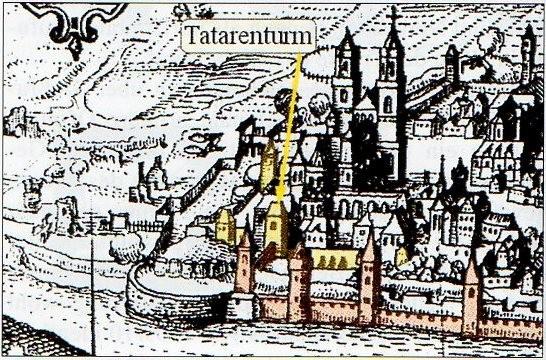 Der Tatarenturm auf einer Zeichnung von Daniel Meisner, 1623.