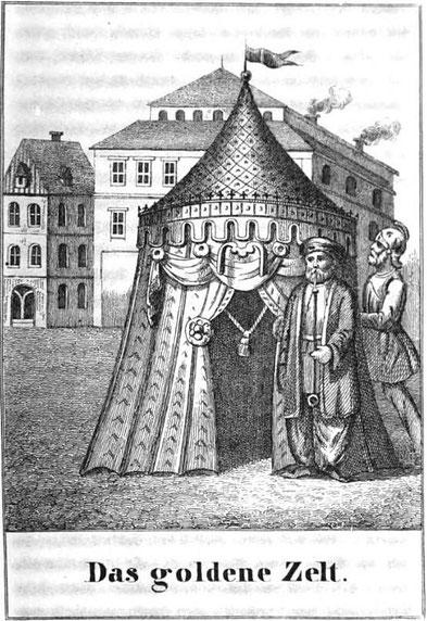 """Das Prunkzelt """"made in Magdeburg"""" stand in der alten Mitte der Stadt, wo später die Schmiedehofstraße verlief. Heute steht dort das Allee-Center Magdeburg,"""