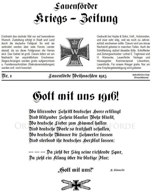 Kriegszeitung Lauenförde / 1915