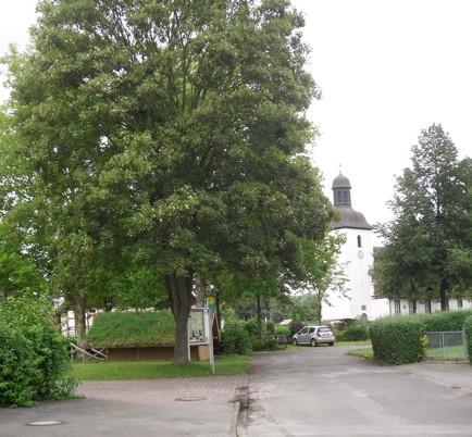 Blick auf Dorfplatz und Kirche