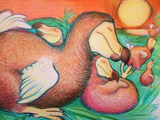 Dodofamilie im Abendlicht