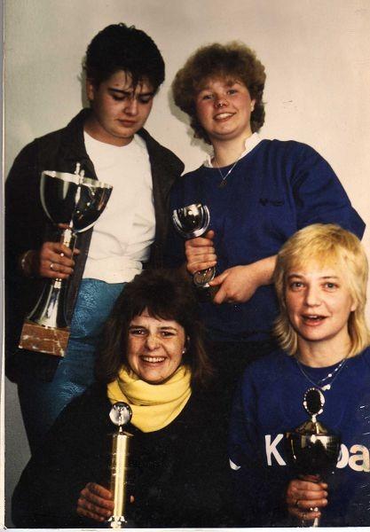1986 gleich 4 deutsche Meisterinnen, Bonnaire, Weigand,unten Jahn, Krinke