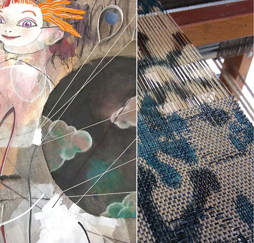 Tiffany Vailier & Agnès Calas - Peinture mixte & Tissage