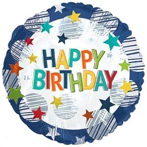 """Круг """"С днем рождения!"""" разноцветные звезды 45 см воздух 120 р., гелий 170 р."""