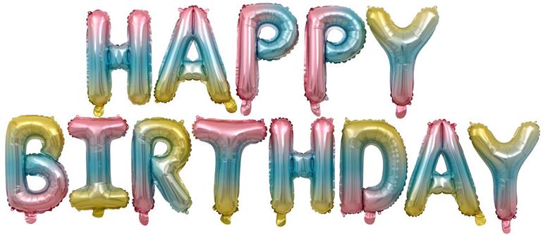 """Надпись """"Happy Birthday!"""" нежная радуга градиент выс. букв 35 см воздух 360 р."""