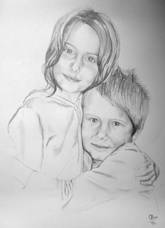 portrait crayon, mine de plomb
