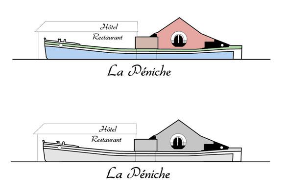 création logo pour l'Hôtel-restaurant La Péniche de Pierrefitte-s/Loire