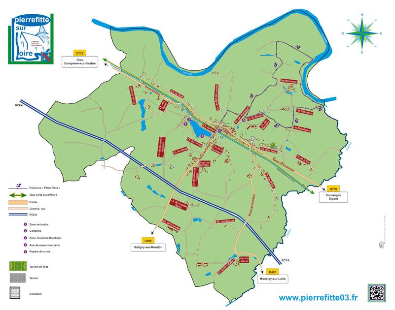 Plan de la commune de Pierrefitte en entier avec noms de rue