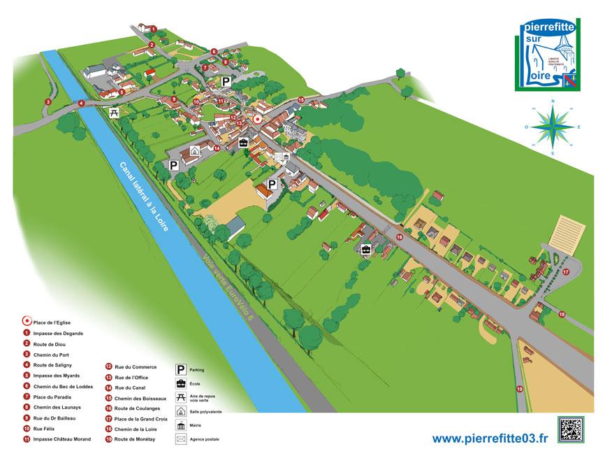 Plan du bourg de Pierrefitte-sur-Loire, entièrement dessiné à la main, avec les nom de rue. Impression sur dibond