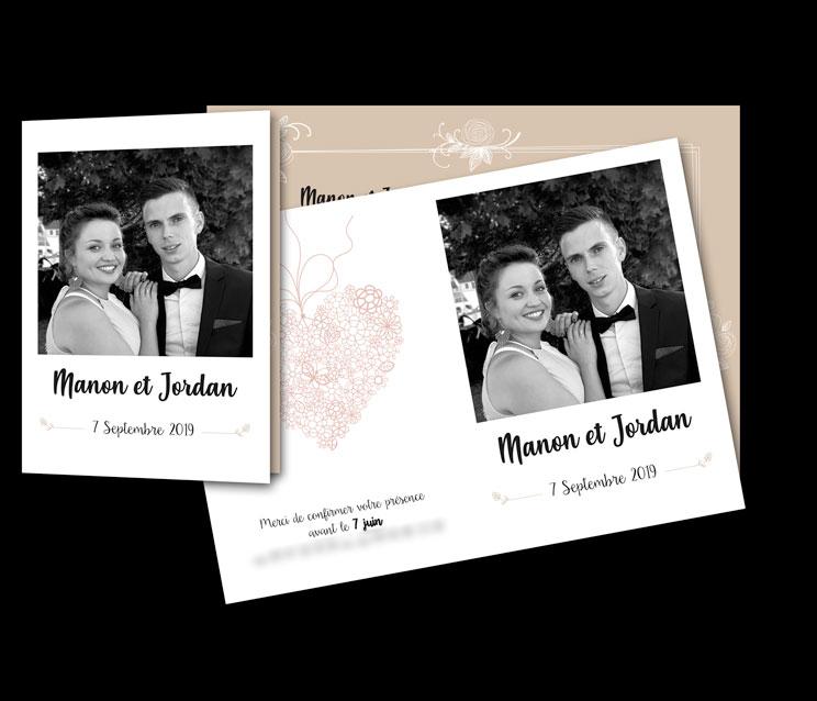 Faire-part mariage, dépliant 2 volets, recto/verso et déclinaison carton d'invitation vin d'honneur