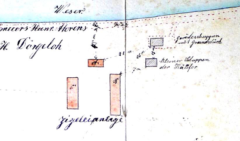 Auszug aus der Baubeschreibung von 1877 - Planausschnitt