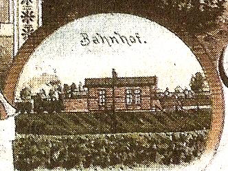 Das Stationsgebäude auf einer Postkarte von ca. 1900
