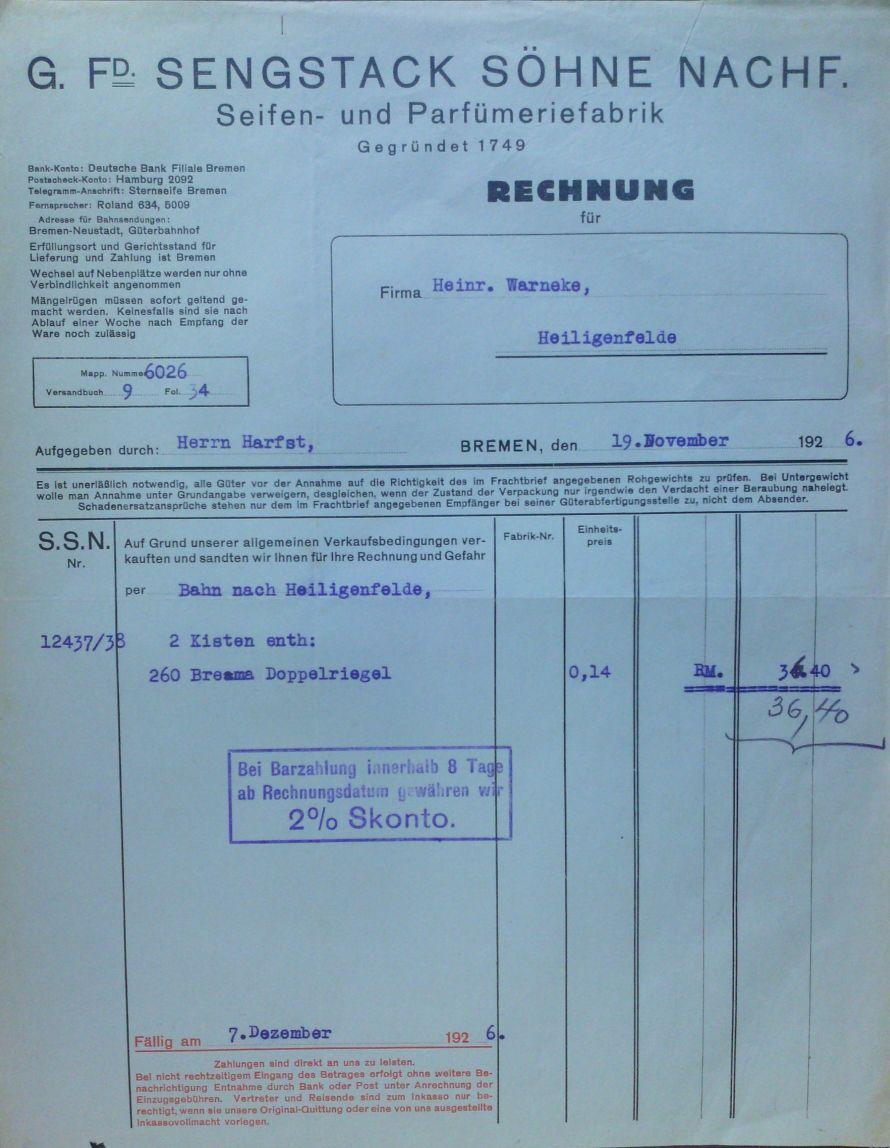 Rechnung der Fa. G. Fd. Sengstack Söhne Nachf.  15