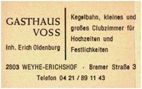 1984, Gasthaus Voss, Inhaber Erich Oldenburg