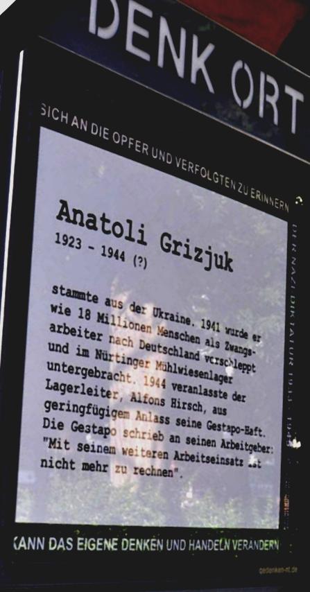 Erinnerung an Anatoli Grizjuk, Denk Ort, Nürtingen, 15. Juni 2016, Foto: Manuel Werner