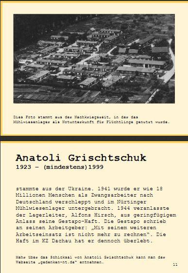 Entwurf der Seiten über Anatoli Grischtschuk in der Broschüre der Gedenkinitaitive Nürtingen
