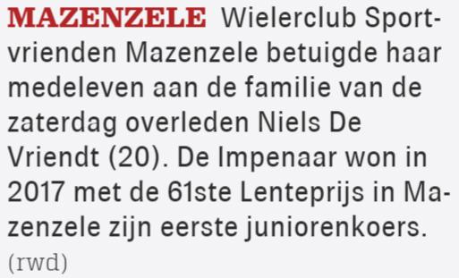 Overlijden Niels De Vriendt - Het Nieuwsblad Pajottenland 7/7/2020 (Wim Redant)